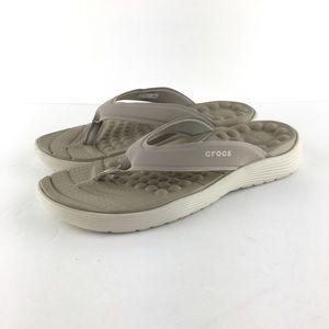 Crocs Reviva Tan Sandals Size 7